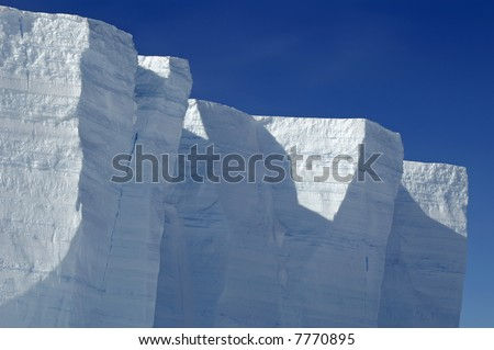 Antarctic ice shelf edge - stock photo