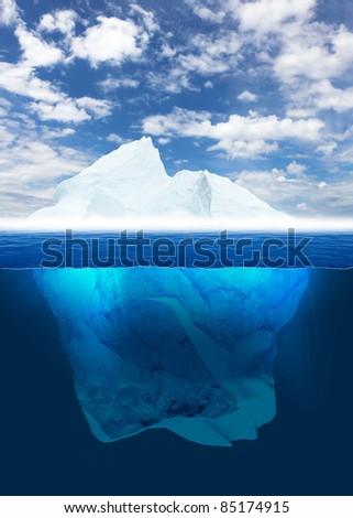 Antarctic iceberg in the ocean. Beautiful polar sea background. - stock photo