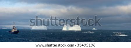 Antarctic icebergs - stock photo