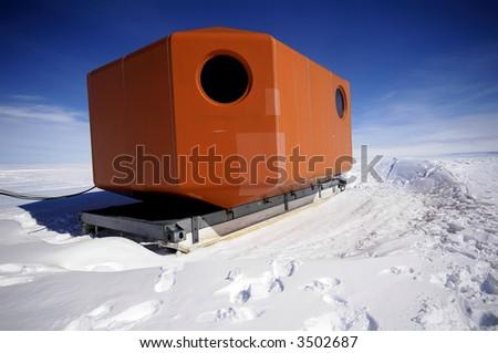 Antarctic mobile home - stock photo