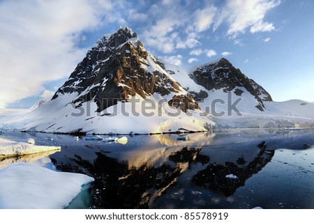 Antarctic Mountain - stock photo