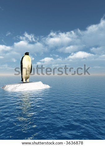 Antarctic penguin on ice - 3d scene - stock photo
