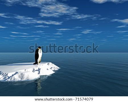 Antarctic penguin on ice - digital artwork - stock photo
