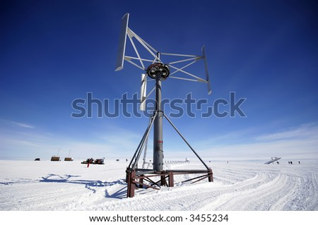 Antarctic wind energy - stock photo