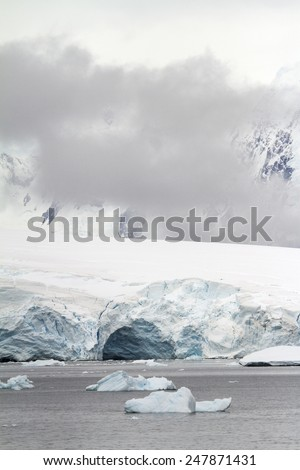 Antarctica - Dramatic Landscape - Coastline Of Antarctica With Ice Formations / Antarctica - Dramatic Landscape - stock photo