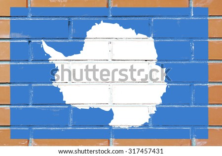 Antarctica flag painted on old brick wall texture background - stock photo