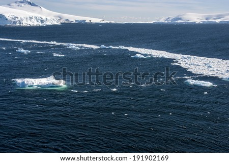 Antarctica - Landscape And Alleys Ice - Sea Ice Off The Coast Of Antarctica - Neumayer Channel / Sea Ice Off The Coast Of Antarctica - stock photo
