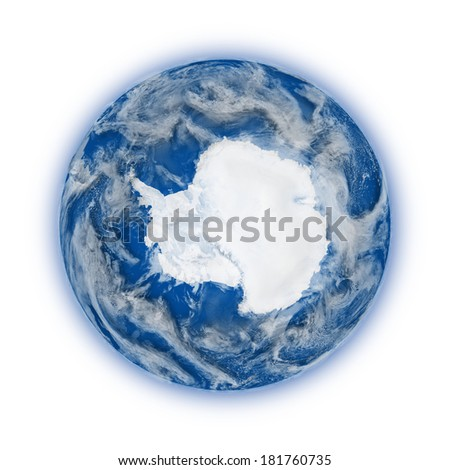 Antarctica on blue planet Earth isolated on white background. Highly detailed planet surface. Elements of this image furnished by NASA. - stock photo