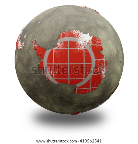 Antarctica on brick wall model of planet Earth with continents made of red bricks and oceans of wet concrete. Concept of global construction. 3D illustration isolated on white background with shadow. - stock photo