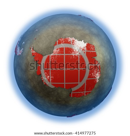 Antarctica on brick wall model of planet Earth with continents made of red bricks and oceans of wet concrete. Concept of global construction. 3D illustration isolated on white background. - stock photo