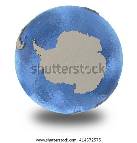Antarctica on 3D model of blue Earth with embossed countries and blue ocean. 3D illustration isolated on white background with shadow. - stock photo