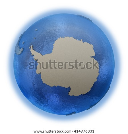 Antarctica on 3D model of blue Earth with embossed countries and blue ocean. 3D illustration isolated on white background. - stock photo