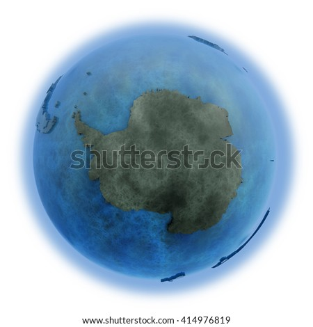 Antarctica on 3D model of planet Earth made of blue marble with embossed countries and blue ocean. 3D illustration isolated on white background. - stock photo