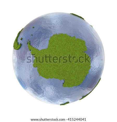 Antarctica on 3D model of planet Earth with grassy continents with embossed countries and blue ocean. 3D illustration isolated on white background.