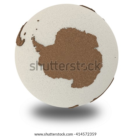 Antarctica on 3D model of planet Earth with oceans made of polystyrene and continents made of cork with embossed countries. 3D illustration isolated on white background with shadow. - stock photo