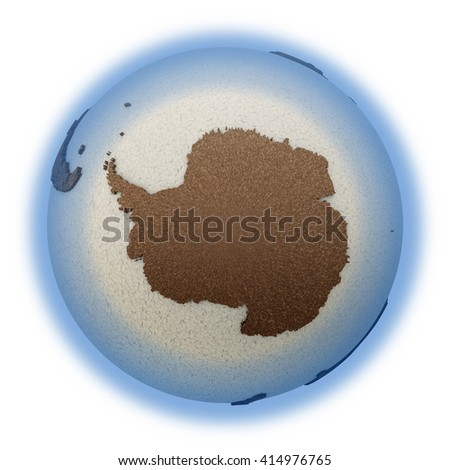 Antarctica on 3D model of planet Earth with oceans made of polystyrene and continents made of cork with embossed countries. 3D illustration isolated on white background. - stock photo