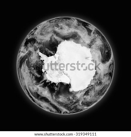 Antarctica on dark planet Earth isolated on black background. Highly detailed planet surface. Elements of this image furnished by NASA. - stock photo