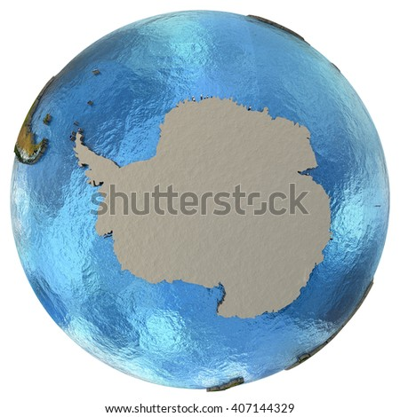 Antarctica on detailed model of planet Earth with continents lifted above blue ocean waters. 3D Illustration. Elements of this image furnished by NASA. - stock photo