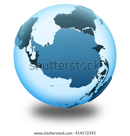 Antarctica on translucent model of planet Earth with visible continents blue shaded countries. 3D illustration isolated on white background with shadow. - stock photo