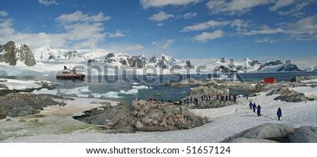 Antarctica Panorama - mountains, glaciers, penguin colonies - stock photo