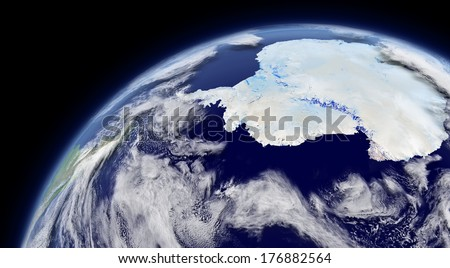Antarctica viewed from space with atmosphere and clouds. Elements of this image furnished by NASA.