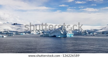Antartic Panorama, Foyn Harbor, west coast of the Antarctic Peninsula - stock photo