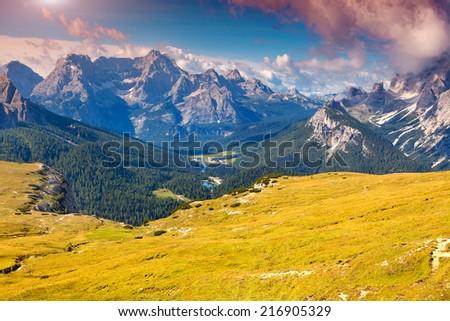 Antelao mountain range at sunny summer day. Dolomites mountains, Italy, Europe. - stock photo