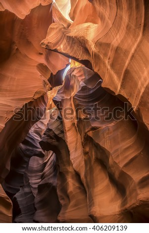 Antelope Canyon - Antelope Canyon was formed by erosion of Navajo Sandstone, primarily due to flash flooding and secondarily due to other sub-aerial processes.