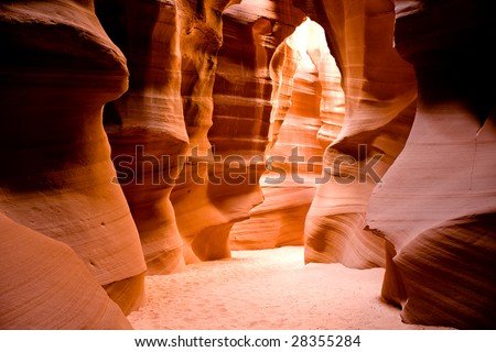 Antelope Canyon is the most-visited and most photographed slot canyon in the American Southwest. It is located on Navajo land near Page, Arizona. - stock photo