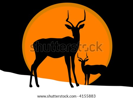 antelope on snow  illustration - stock photo