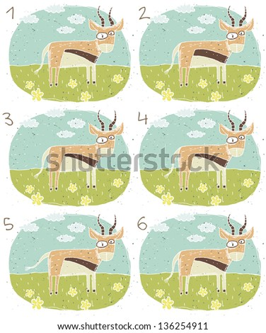 Antelope Visual Game for children. Task: Find two identical images (match the pair)! Answer: No. 3 and 4. (for vector see image 114653236) - stock photo