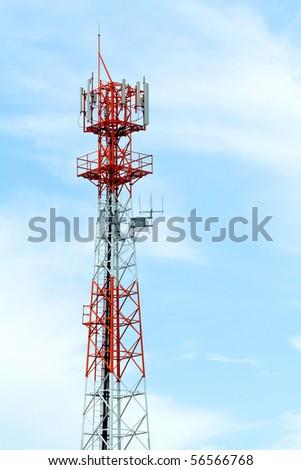 Antenna against blue sky - stock photo