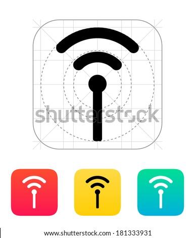 Antenna broadcasting radio signal icon. Wireless technology. - stock photo