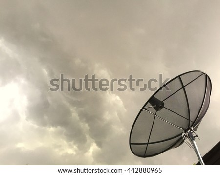 Antenna communication satellite dish with storm background with copyspace