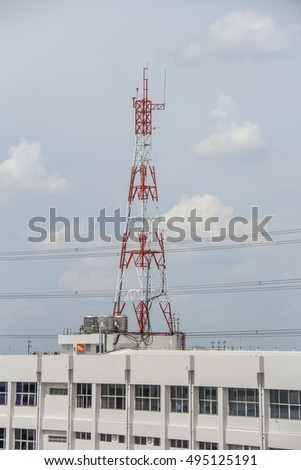 Antenna for Telephone communications in Nonthaburi, Thailand.