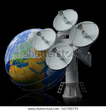 Antenna icon. Global digital satellite communication concept. Satellite dish and Earth globe isolated on black. Elements of this image furnished by NASA. - stock photo