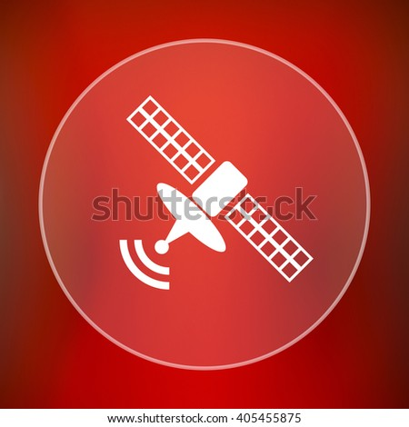 Antenna icon. Internet button on red background. - stock photo