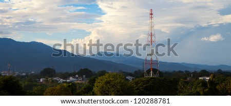 Antenna in front of mountain  panoramic view - stock photo