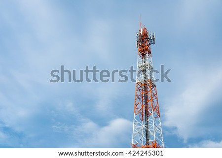 Antenna of Communication Building and blue sky. - stock photo