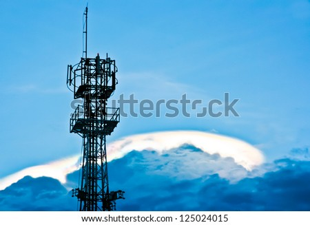 antenna on the cloud in the evening - stock photo