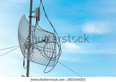 Antenna on the sky. - stock photo