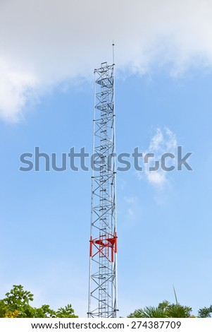 Antenna pole of the base station for mobile network. - stock photo