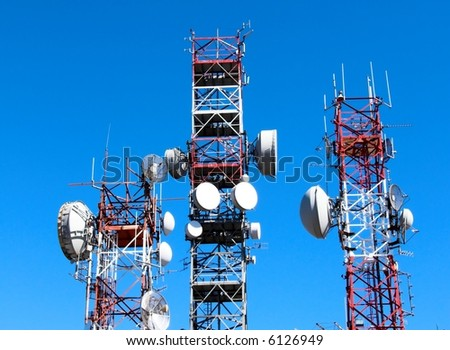 Antenna repeater of communication - stock photo