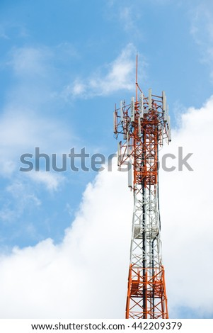 Antenna tower,antenna tower building with the blue sky.Close-up of the antenna building with the sky background.Communic ation antenna tower with the sky background in close-up scene. - stock photo