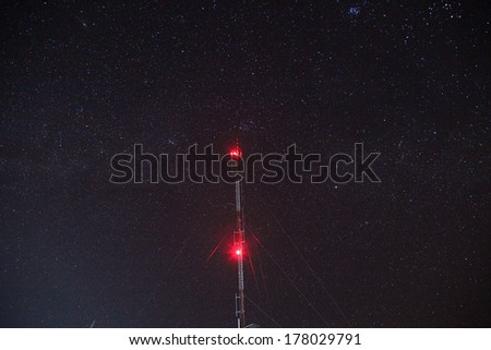 Antenna tower at Night - stock photo