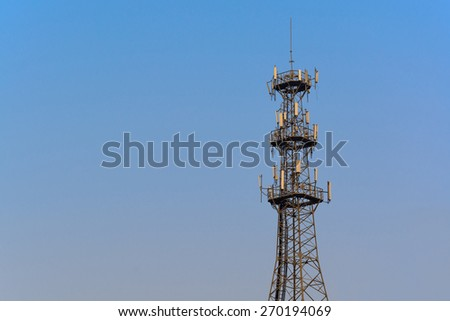 Antenna Tower of Communication with blue sky - stock photo
