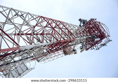 Antenna transmission tower, painted white and red - stock photo