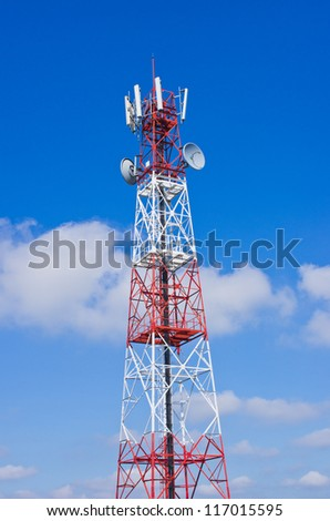 Antenna transmission tower, painted white and red in a day of clear blue sky.
