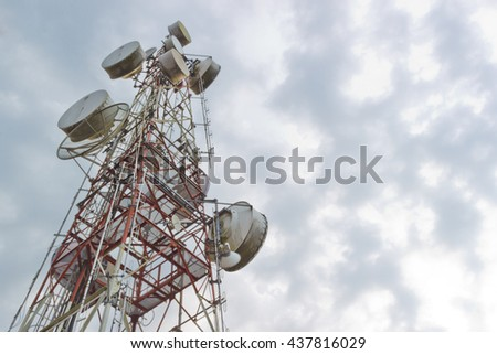 Antenna TV It is characterized by high towers made of steel. Used to transmit television signals. - stock photo