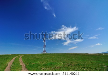 antenna tv station on mountain - stock photo